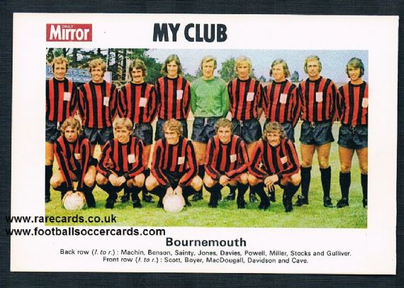 1970 My Club Daily Mirror postcard-size card Bournemouth